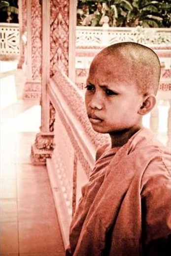Spiritual thought process. A young monk in a Monastery.