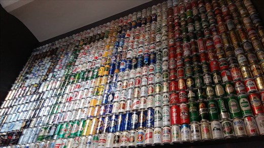 The Beer Museum sign made of beer cans