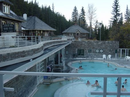natural hot springs in banff - notice the snow on the roof of the building - water temperature 40 degrees