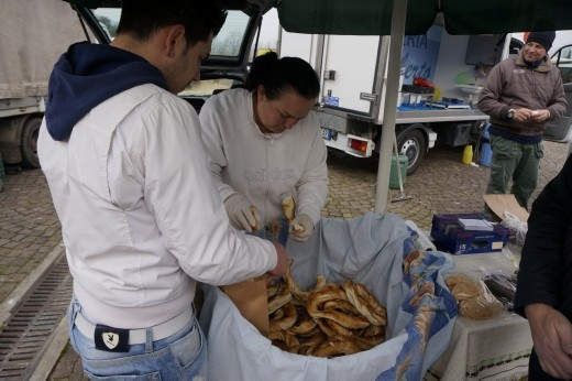 Paolo picking out our Italian bagels at the market. Boiled and fried, best of both bagel worlds!