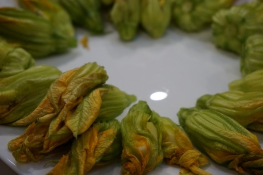 Zucchini flowers, post-cheese, pre-fried