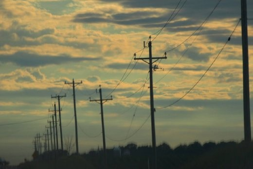 Telephone poles cross the horizon for miles and miles.