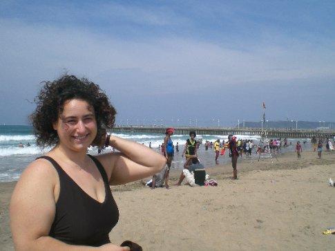 Michelle at the beach in Durban