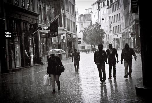 BLACK MEN IN THE RAIN - MAIN STREET