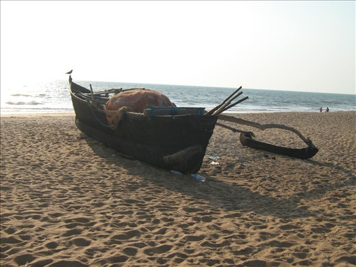Traditional Goan fishing boat, Calangute GOA – The early boat catches the fish