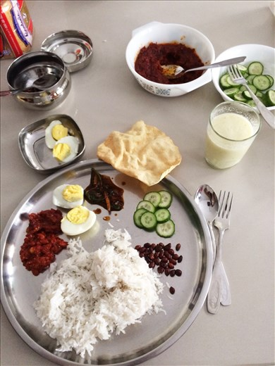 The Nasi Lemak I cooked with my Mayasian friend when I visited KL. Served it with honey melon and cardamon milkshake.