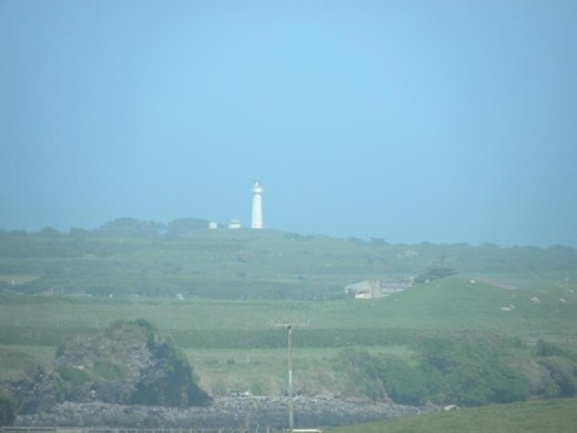 From the top of the replica lighthouse, you can see the original lighthouse down the coast.