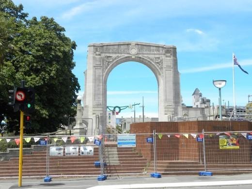 Cathedral Square is near. This is the Bridge of Remembrance.