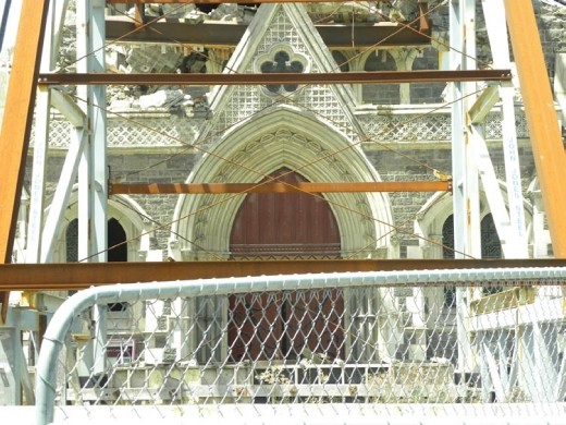Strong metal girders are needed to keep the remaining structure from crumbling.