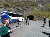 Waiting our turn in the Homer Tunnel. It's a one-way tunnel, so we're waiting for the green light.: by taylortreks, Views[61]