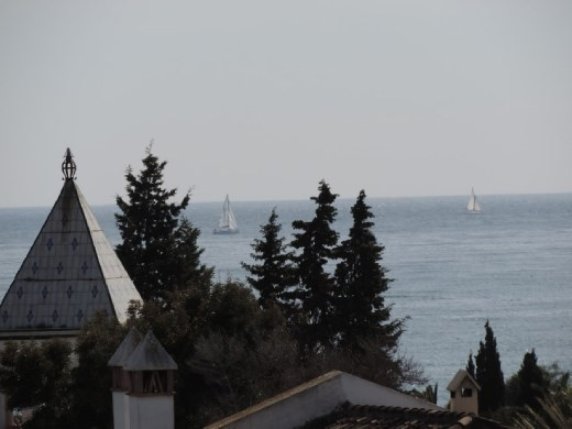 Today wasn't a very clear day, but you can see the sailboats out on the Mediterranean.