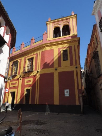 Colorful buildings all around town. We found this on our search for the Flamenco Museum.