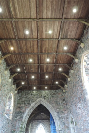 Exquisite wooden beams and ceiling adorn the West Range of the Abbey