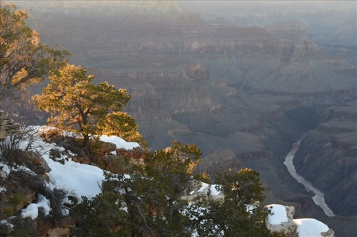 The diffuse dusk light emphasized contrast from the rim to the inner gorge of the Canyon.