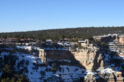 Two iconic buildings on the South Rim: Kolb Studios and Bright Angel Lodge.