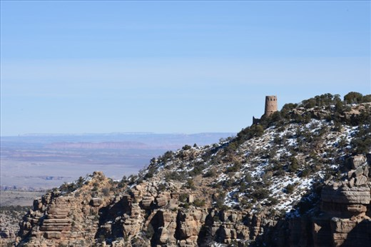 Looking eastward from Navajo Viewpoint provided a rare view of the Watchtower, designed by Mary Colter.