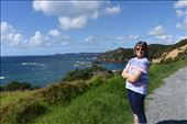 Anna enjoys a sunny stop along the coastal back road to Russell.: by taylortreks, Views[39]