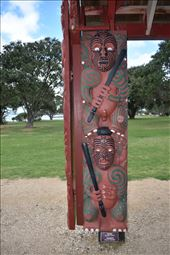 Carved Maori warriors guard the waka. The waka is launched only on 6 Feb, the anniversary of the signing of the Treaty of Waitangi. It takes 80 warriors to paddle the waka across the Russell Harbor.: by taylortreks, Views[37]