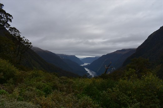 Sunshine gave way to thick clouds over Doubtful Sound itself.