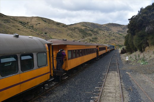 We met a special train (carrying participants in a breast cancer awareness hike?) that was returning to Dunedin.
