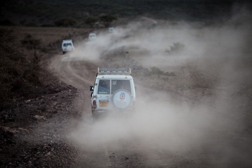 Foreign aid meander through the dirt tracks racing from one town to another