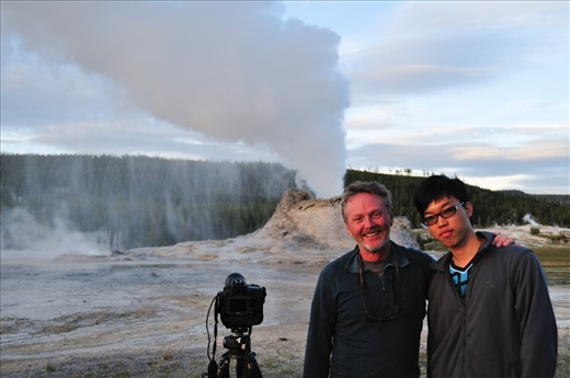 Tripod was ever ready for a photo with Jeff Vanuga after Castle Geyser's eruption. Jeff is a great friend and also a great inspiration to me. He is currently heading a National Geographic workshop in Wyoming whom we met in the park a year ago. 'Remember, never stop shooting!' was his farewell message before leaving on his next assignment.