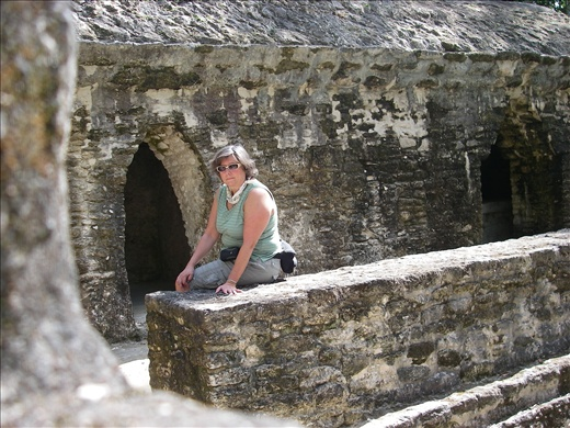 Sitting outside Cahal Pect burial platforms