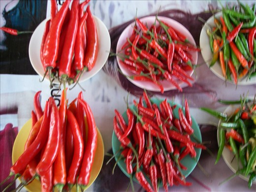Hot peppers, a common Thai spice