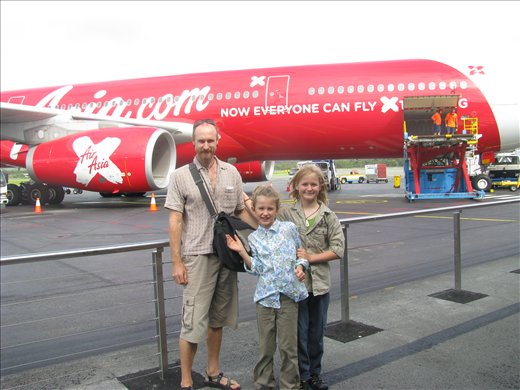 On the Gold Coast's Tarmac with our Air Asia boarding passes