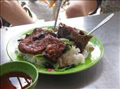 Delicious lunch in market: rice, pork, greens and vietnamese sauce: by terrihorner, Views[230]