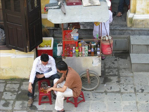 Drinks stall with plastic chairs for comfort, Hoi An
