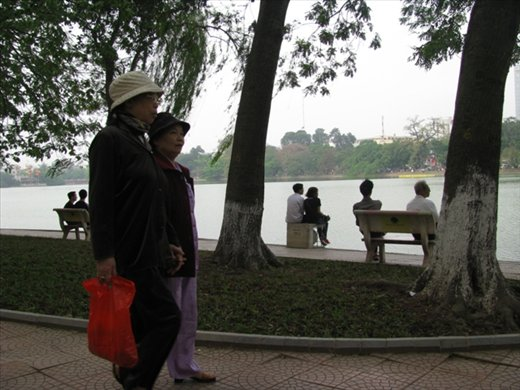 Hoam Kiem Lake, very popular for exercising and escaping the road mayhem
