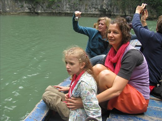 In the outdoor cave - Halong Bay: Terri and Ni'mah