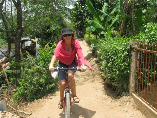 Me (Terri) enjoying a ride on An Binh Island - this is as close as I get to