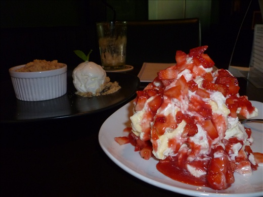 Helen's dessert, Malone's,  Twin Tower's esplanade- that's smashed meringue, diced strawberries, cream and coulis!