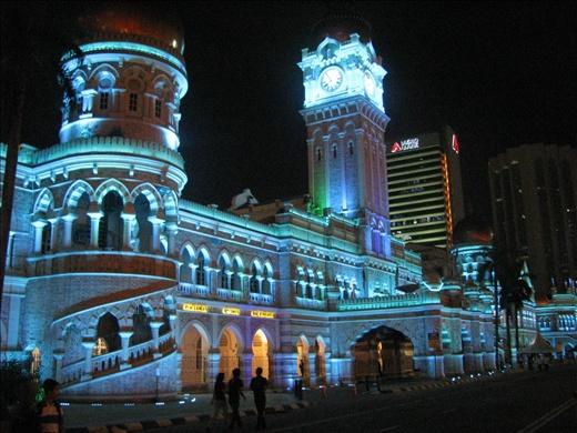 Merdeka Square lit up at night
