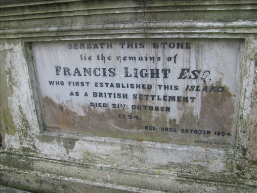 Grave of 1st governor, Francis Light