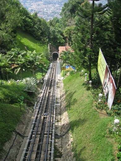 The steep Funicular rail up to Penang Hill
