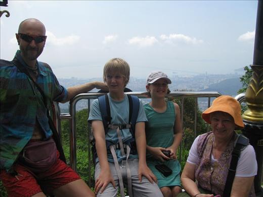 Adrian, Ash, Nim & mum on Penang Hill