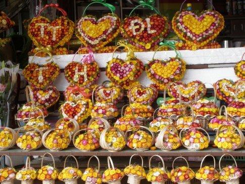 Flower displays at local market