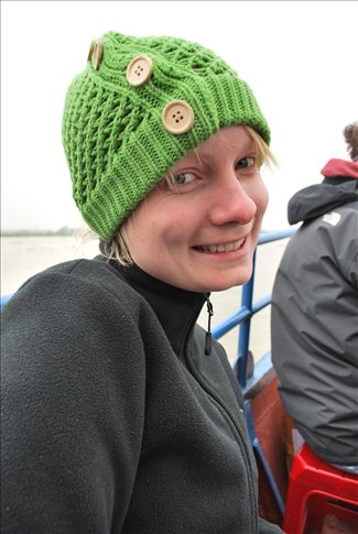Rugged up and looking cool for the boat ride to Cat Ba!