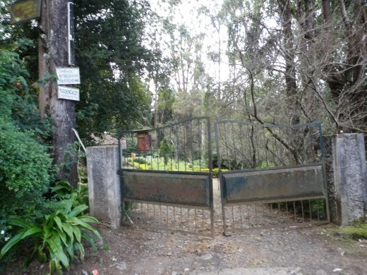 The spooky gate leading to our cottage.