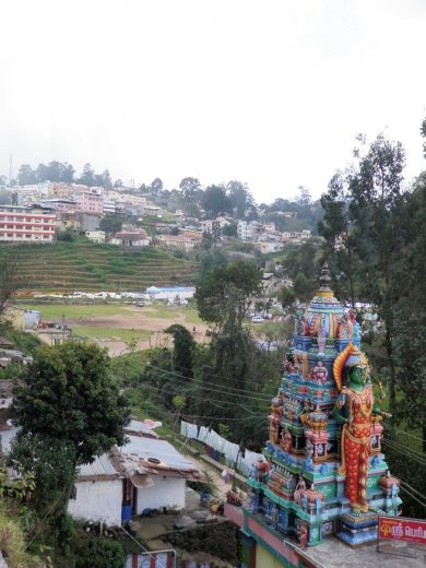 Hindu temple, with Kodai in the background.