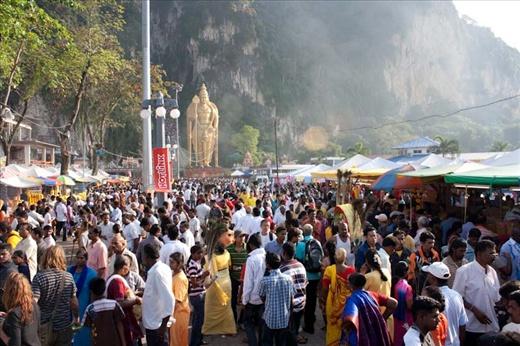 Batu Caves full of devotees.