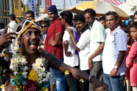 Dancing devotee at Thaipusam festival.
