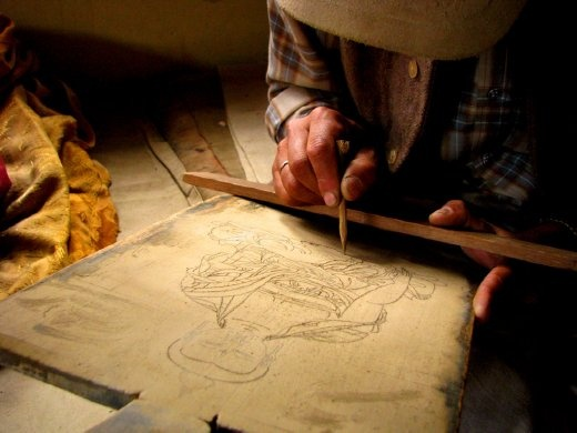 Practicing on the dust, Thankar painting class at Tabo Gompa, Spiti, Himachal Pradesh