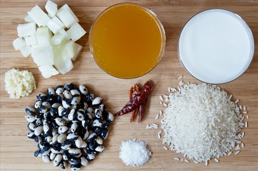 Prep 1: Onion, garlic, calypso beans, salt, chilies, stock, coconut milk