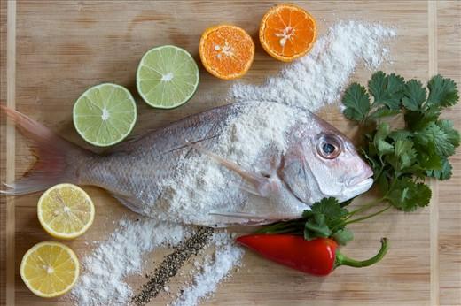 Prep 3: Snapper, citrus, flour, salt, pepper, cilantro, chilies