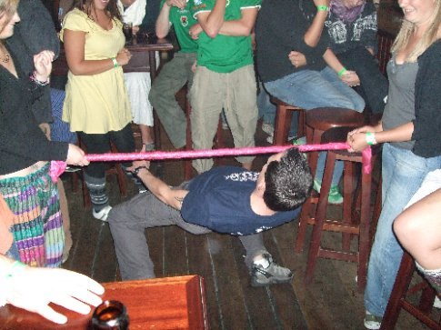 Doing the drunkin limbo in the Wilde Rover