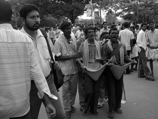 The problems of extreme poverty are the same regardless of age and gender. These blind singers are an example for how crippling poverty can be. Any kind of help from the government or other agencies never reach them and they survive life by singing at local celebrations without an identity in life. They move between places in the country searching for festivals to perform their art and make a living. Their life is a matter of curiosity for others yet they are denied even the basic human rights.